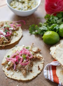 Carnitas Tacos with Pickled Onions and Salsa Verde