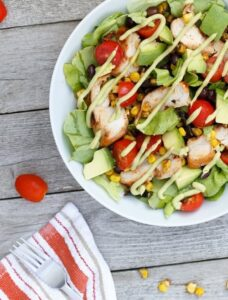 BBQ Chicken Salad with Avocado Dressing
