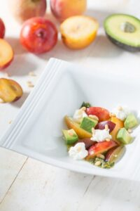 Stone Fruit Salad with Avocado, Ricotta, and Salsa Verde