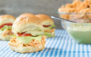 Slow Cooker Buffalo Chicken Sliders with Avocado Ranch Dressing