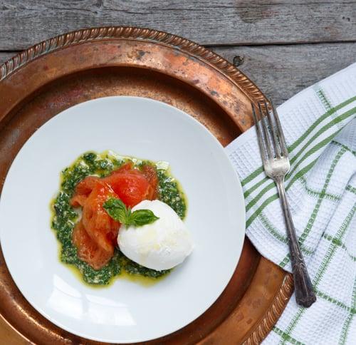 slow roasted tomato caprese salad