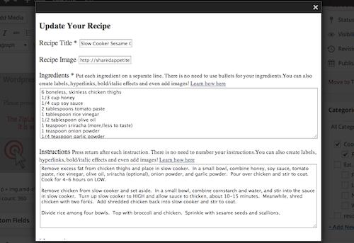 Zip List Plugin on Shared Appetite