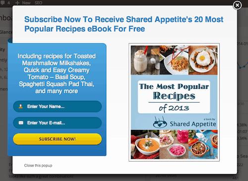 Ninja Popup Plugin on Shared Appetite