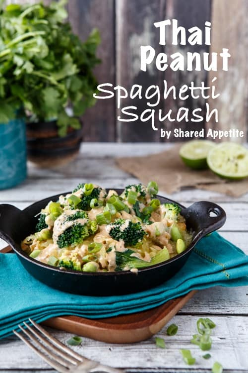 thai spaghetti squash bowl with peanut sauce