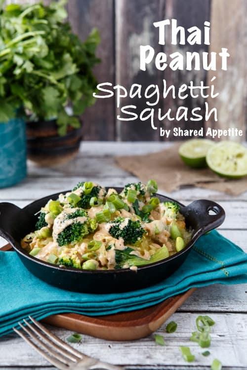 thai spaghetti squash bowl with peanut sauce