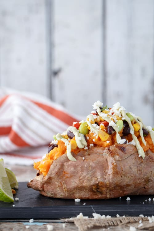 sweet potatoes with southwestern succotash