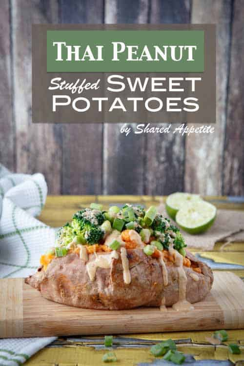 Sweet potatoes stuffed with broccoli, edamame, and thai peanut sauce