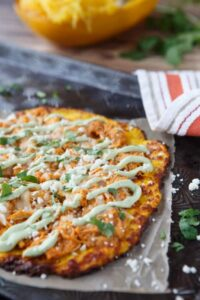 skinny buffalo chicken pizza with spaghetti squash pizza crust