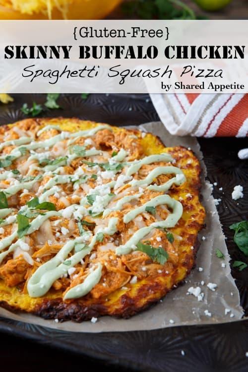 skinny buffalo chicken pizza with spaghetti squash pizza crust