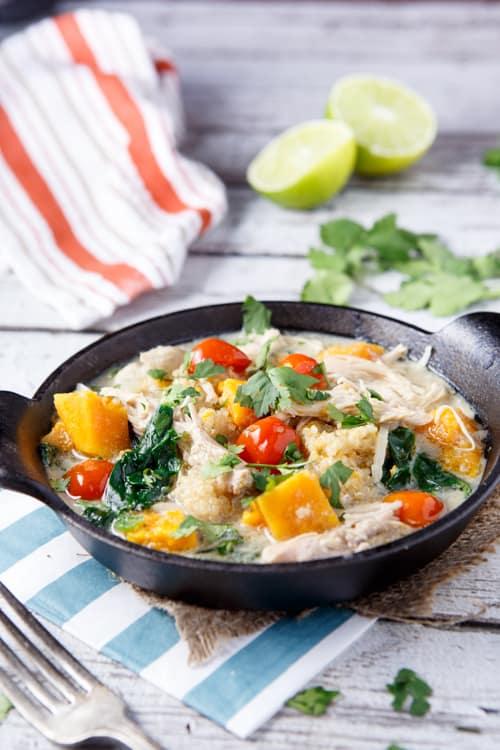 Slow Cooker Thai Chicken + Coconut Quinoa Stew