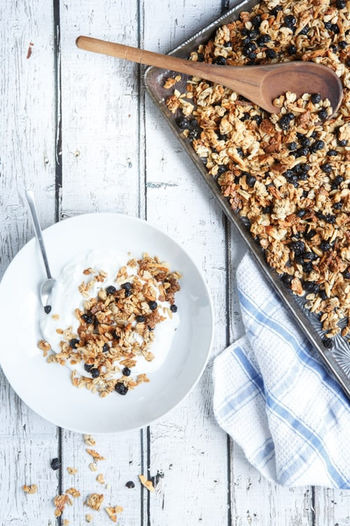 gluten-free blueberry almond granola with chia seeds