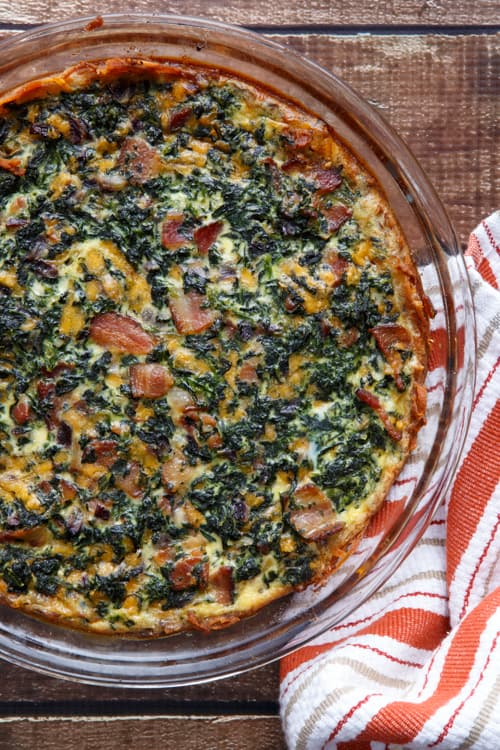 Gluten-Free Spinach and Bacon Quiche with a Crust made from Hashbrowns