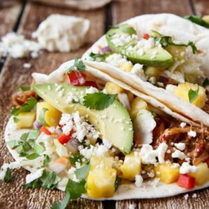 hawaiian luau pulled pork tacos with pineapple habanero salsa