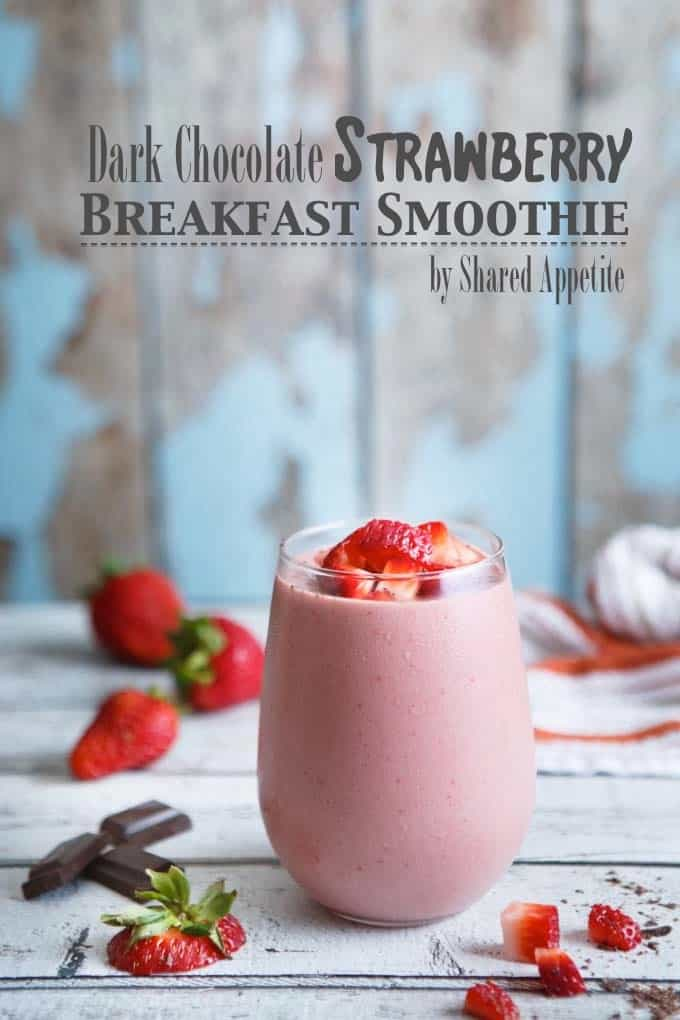 Dark Chocolate Strawberry Breakfast Smoothie