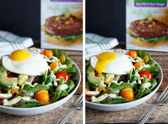 Spicy Black Bean Burger Southwest Salad