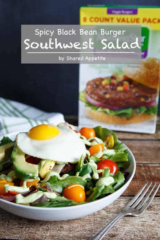 Spicy Black Bean Burger Southwest Salad