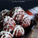 Baked Red Velvet Donut Holes with Cream Cheese Glaze