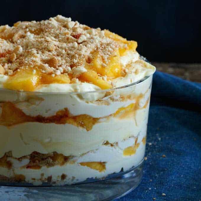 Delicious Recipes Peach Vanilla Cheesecake Trifle Shared Appetite