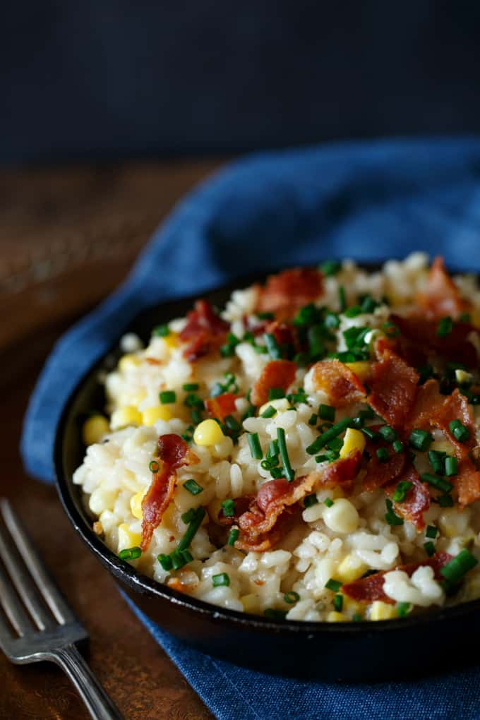Bacon Egg and Cheese Corn Risotto