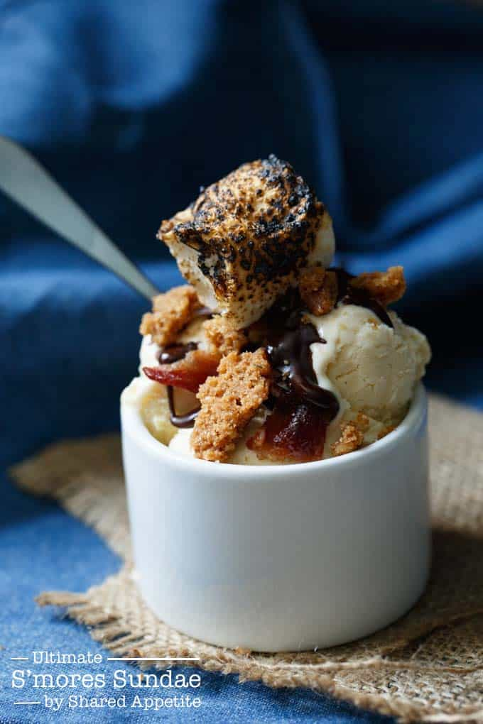 ultimate smores sundae homemade toasted marshmallow ice cream and candied bacon