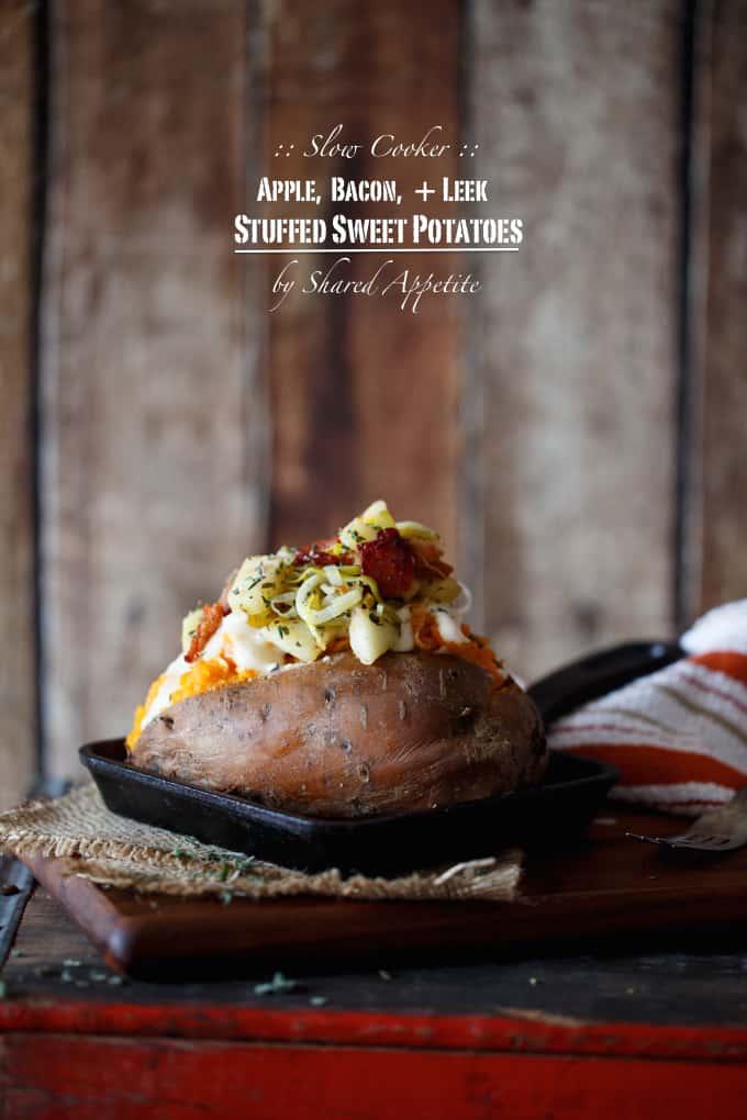 Slow Cooker Apple, Bacon, and Leek Stuffed Sweet Potatoes