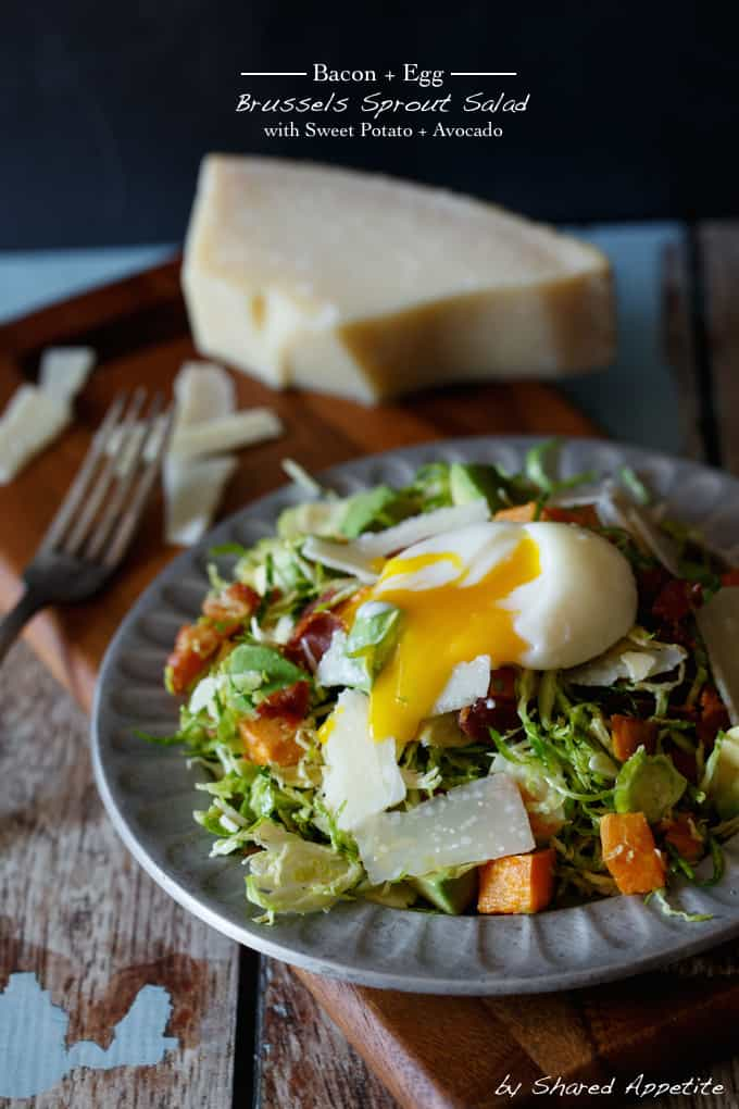 Bacon and Egg Brussels Sprout Salad with Sweet Potato and Avocado