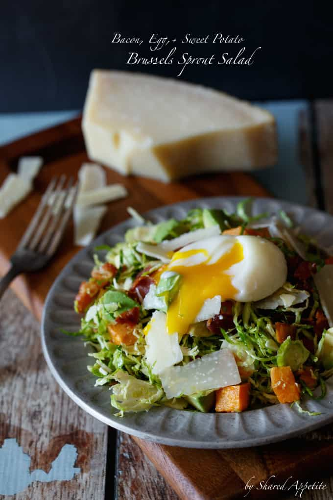 Bacon, Egg, and Sweet Potato Brussels Sprout Salad
