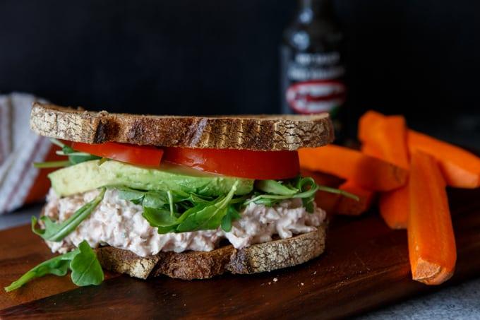 healthy buffalo chicken salad sandwich