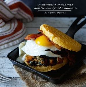 Sweet Potato and Spinach Hash Waffle Breakfast Sandwich (Breakfast On The Go)