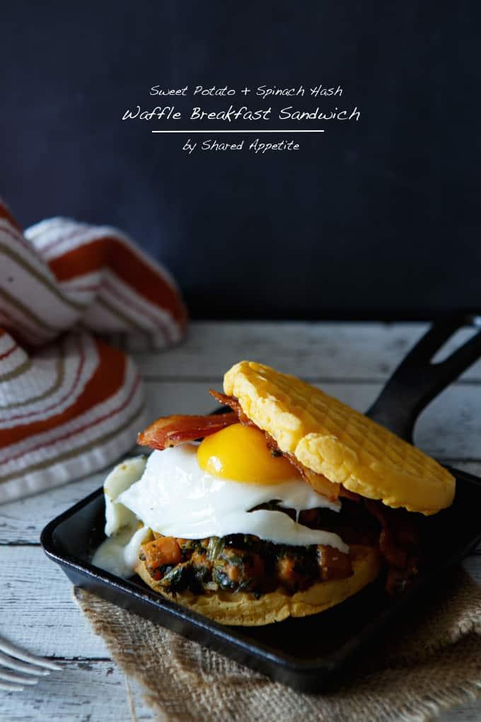 Sweet Potato and Spinach Hash Waffle Breakfast Sandwich