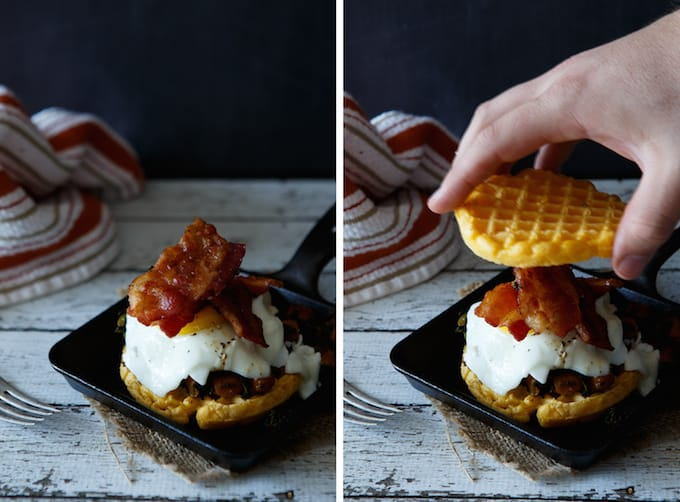 Sweet Potato and Spinach Hash Waffle Breakfast Sandwich
