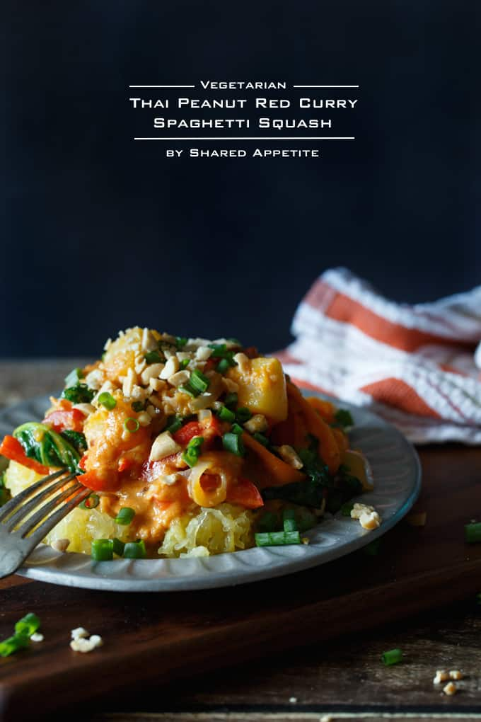 Vegetarian Thai Peanut Red Curry Spaghetti Squash