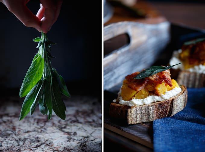 Acorn Squash Crostini with Ricotta, Bacon, and Sage | sharedappetite.com