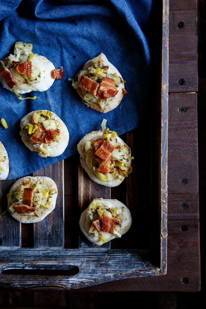 Apple, Bacon, + Leek Pizza Bites | sharedappetite.com