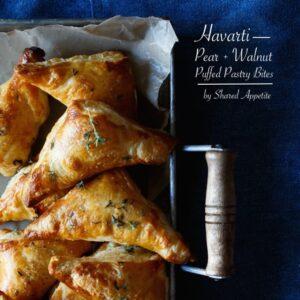 Havarti, Pear, and Walnut Puff Pastry Bites