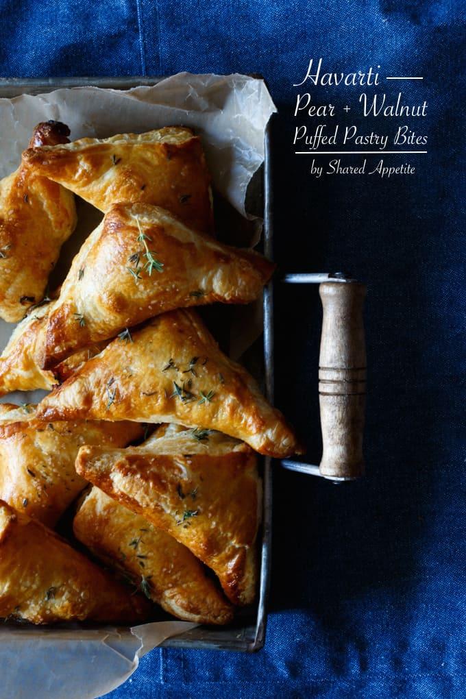 Havarti, Pear, and Walnut Puffed Pastry Bites   sharedappetite.com