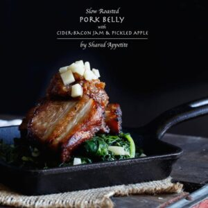 Slow Roasted Pork Belly with Cider-Bacon Jam and Pickled Apples | sharedappetite.com