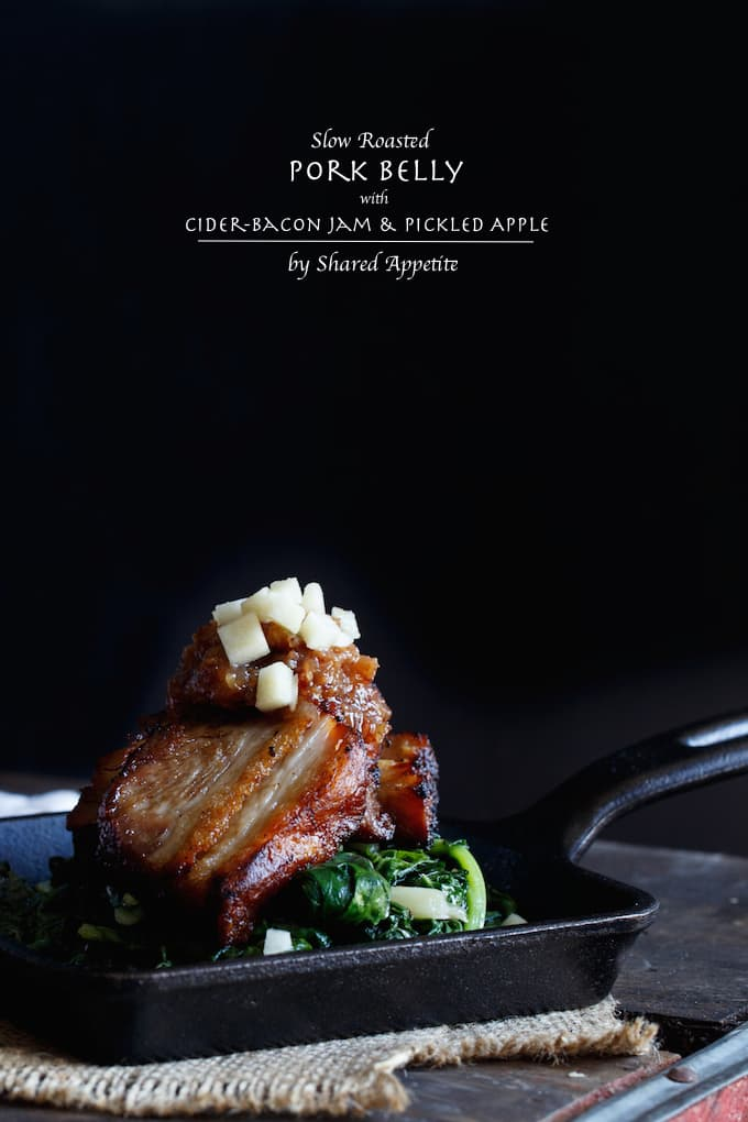 Slow Roasted Pork Belly with Cider-Bacon Jam and Pickled Apples   sharedappetite.com