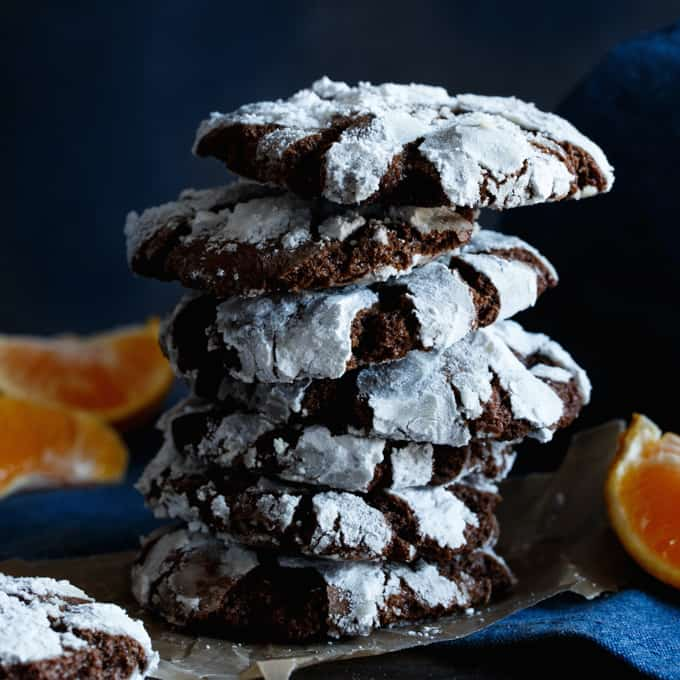 Chocolate Orange Truffle Crinkle Cookies - Shared Appetite