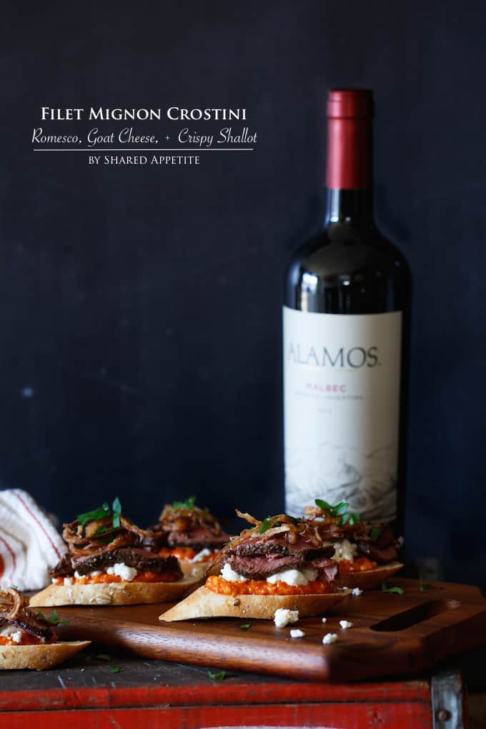 Filet Mignon Crostini with Romesco, Goat Cheese, and Crispy Shallot | sharedappetite.com