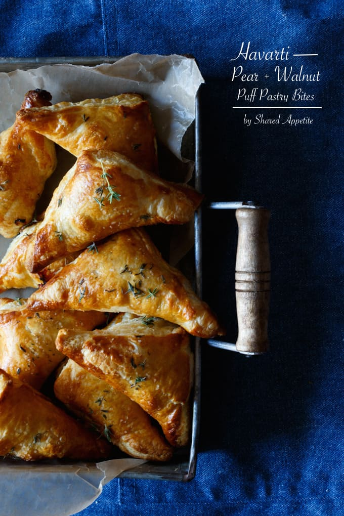 Havarti, Pear, and Walnut Puffed Pastry Bites | sharedappetite.com
