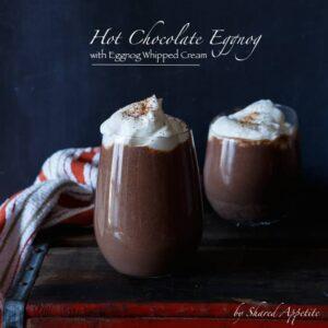 Hot Chocolate Eggnog with Eggnog Whipped Cream