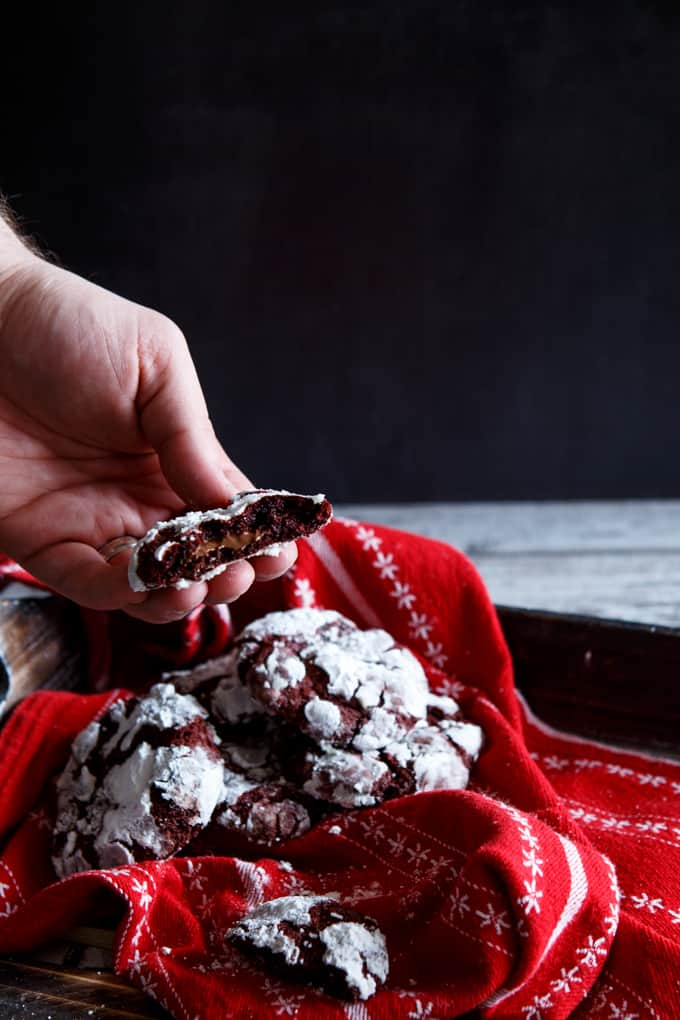 Nutella- Stuffed Red Velvet Chocolate Chip Cookies | sharedappetite.com
