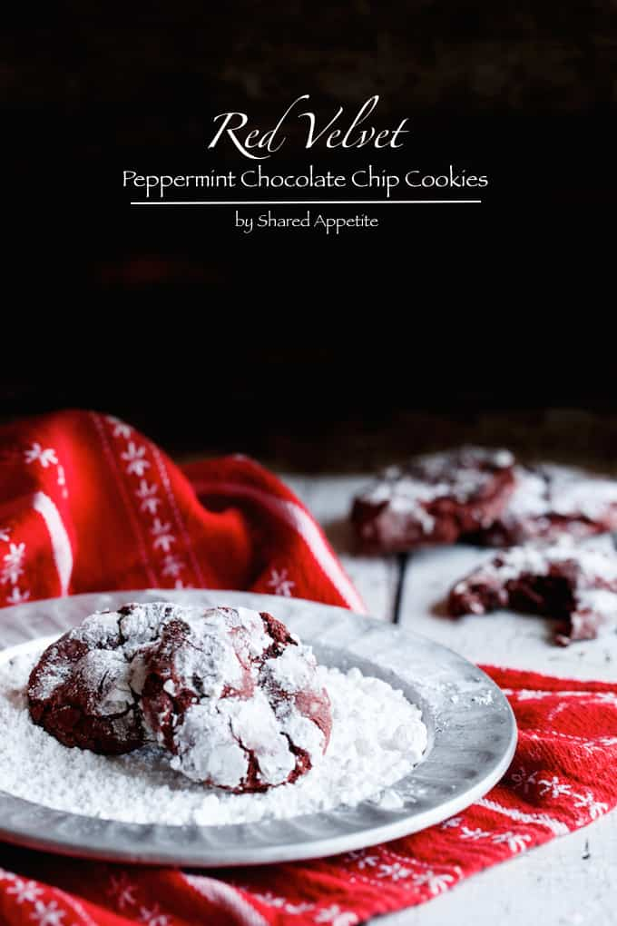 Red Velvet Peppermint Chocolate Chip Cookies | sharedappetite.com