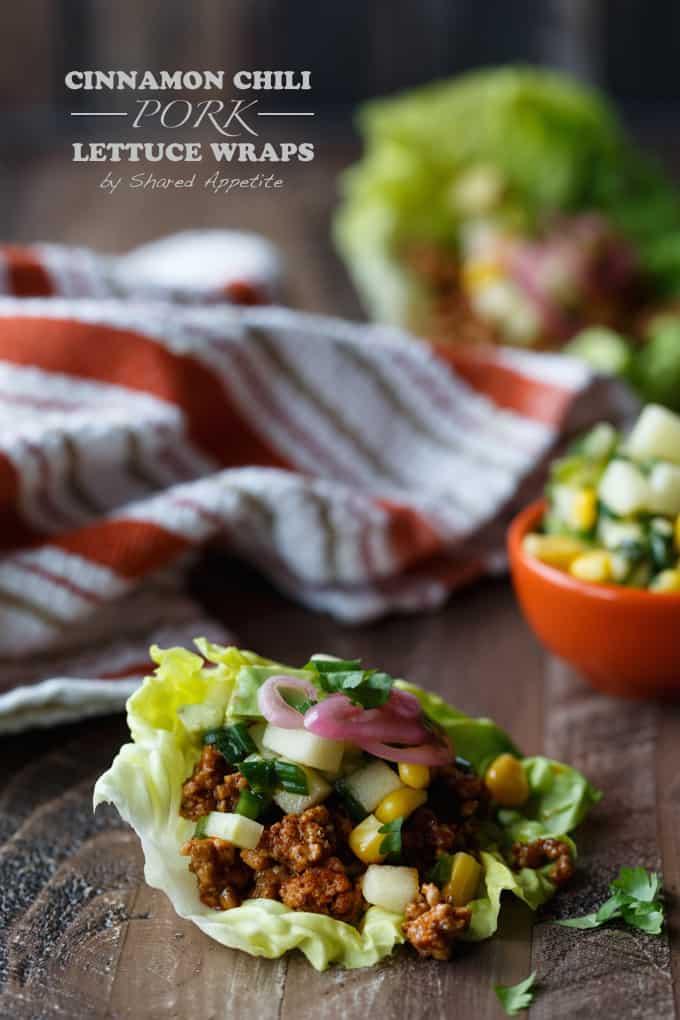 Cinammon Chili Pork Lettuce Wraps with Apple Corn Salsa, Avocado, and Pickled Onions | sharedappetite.com
