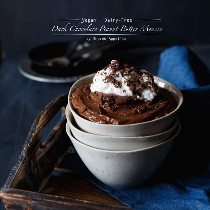 Vegan + Dairy-Free Dark Chocolate Peanut Butter Mousse