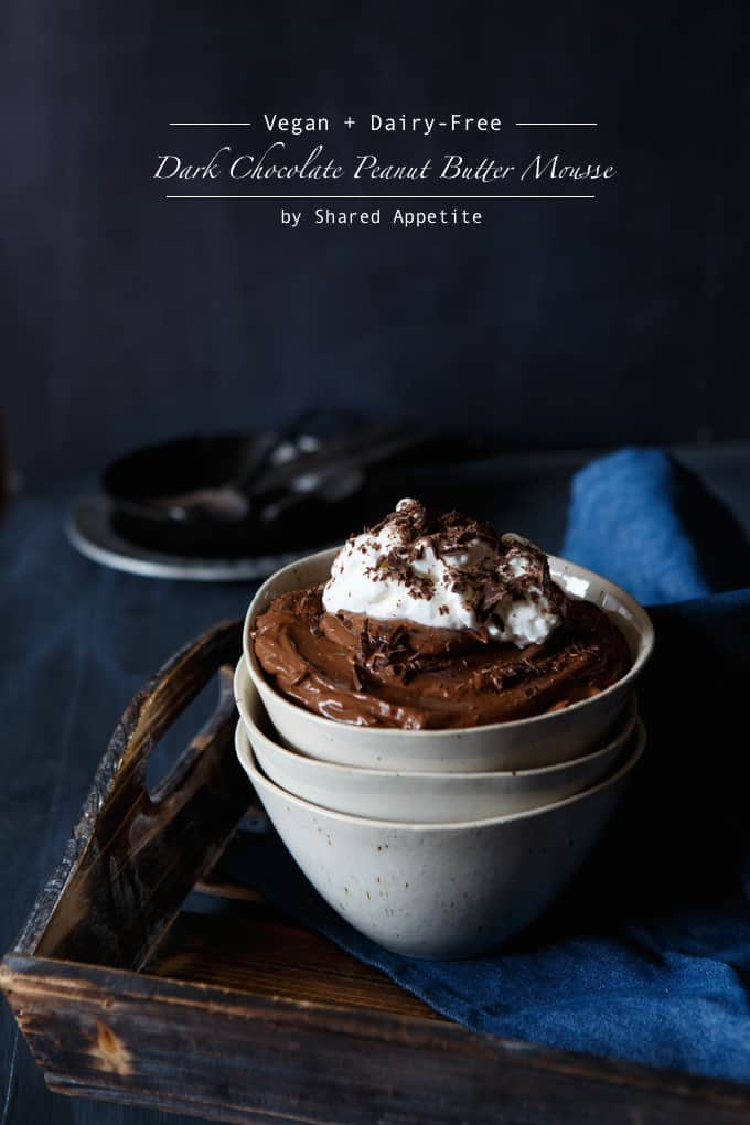 Vegan + Dairy-Free Dark Chocolate Peanut Butter Mousse
