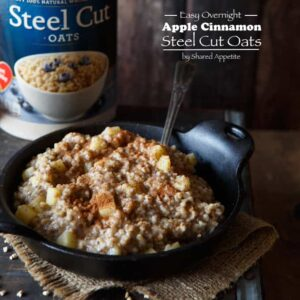 Easy Overnight Vegan Apple Cinnamon Stee Cut Oatmeal | sharedappetite.com