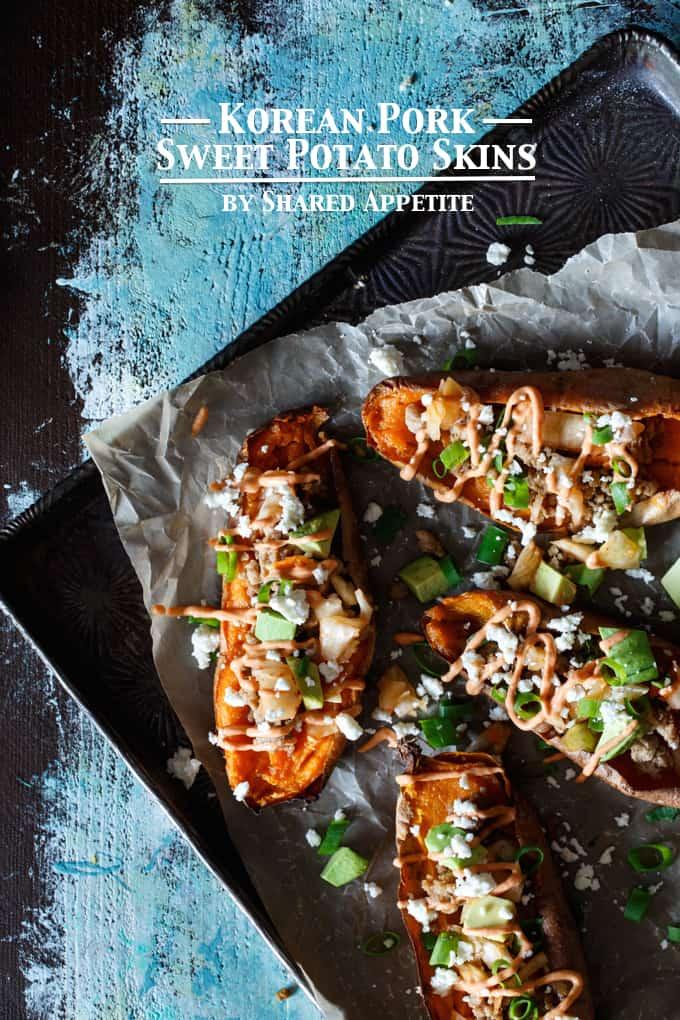 Korean Pork + Kimchi Sweet Potato Skins | sharedappetite.com