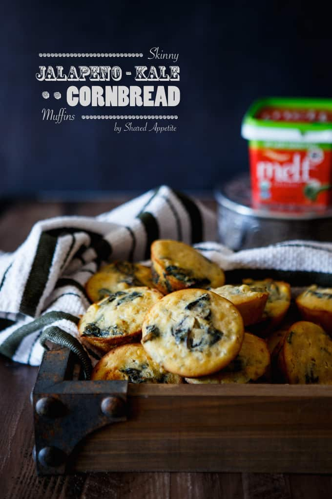 Skinny Jalapeno Kale Cornbread Muffins | sharedappetite.com